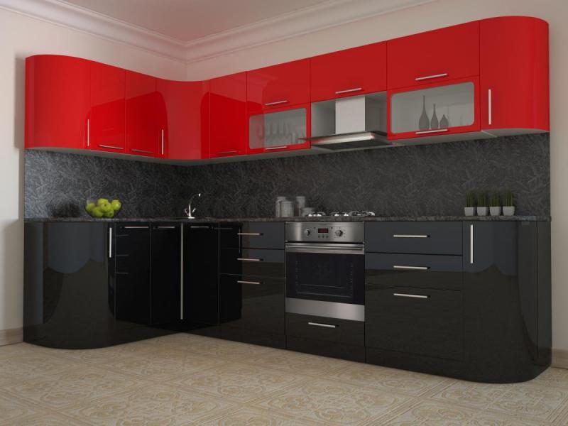 Кухня Черно/красный глянец