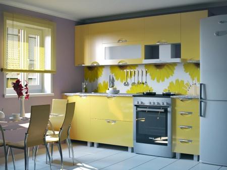 Кухонный гарнитур Мадена желтый глянец
