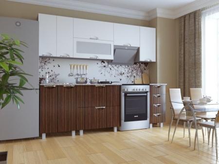 Кухонный гарнитур Мадена Бело-зебрано глянец