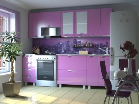 Кухонный гарнитур Мадена Сиреневый глянец