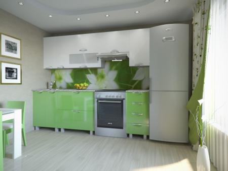 Кухонный гарнитур Мадена Бело-зеленый глянец