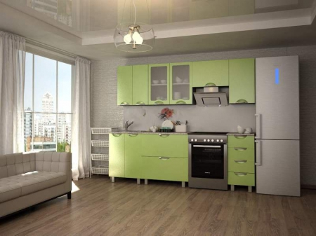 Кухонный гарнитур Мадена Зеленый глянец